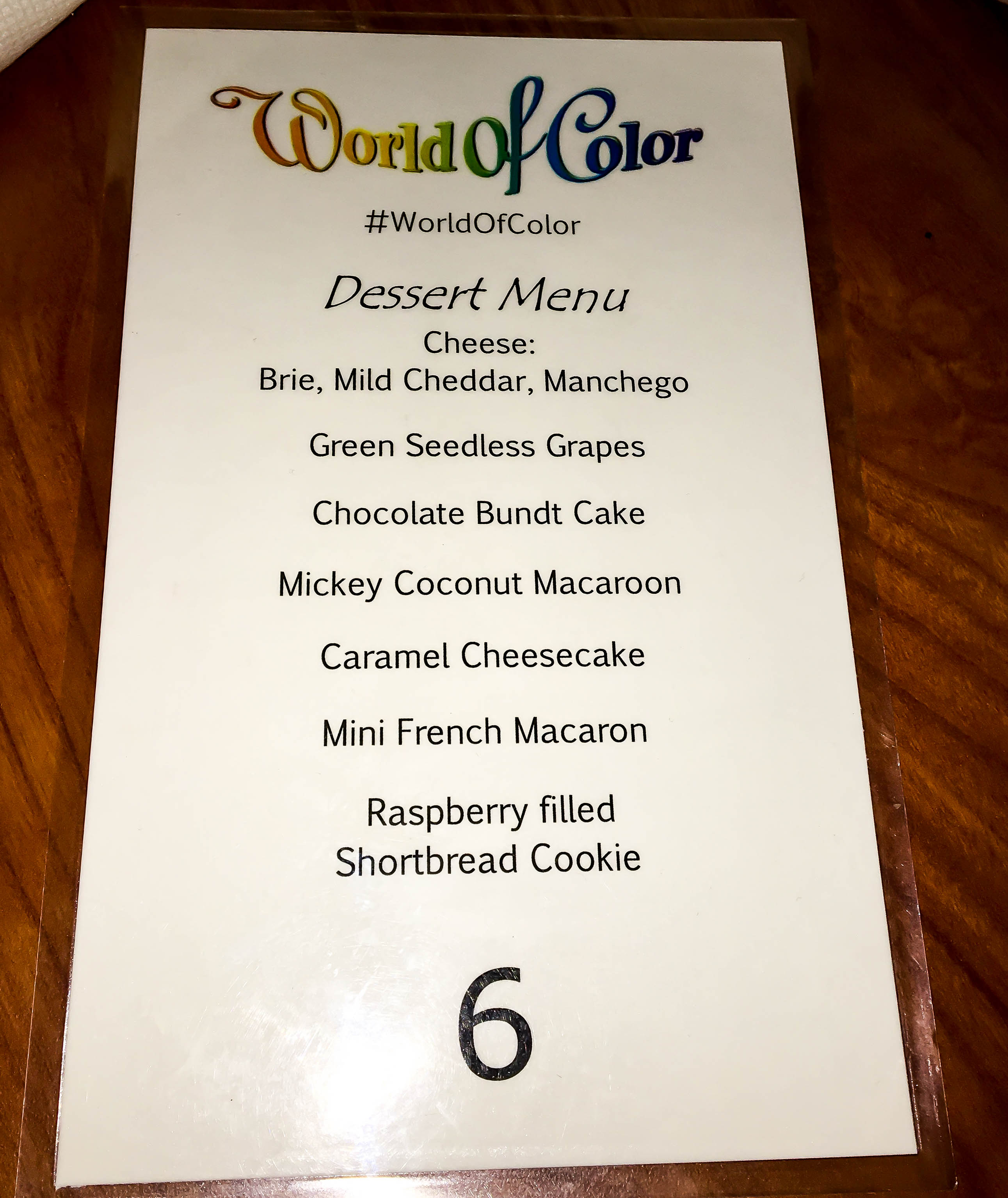 World of Color Dessert Party Menu