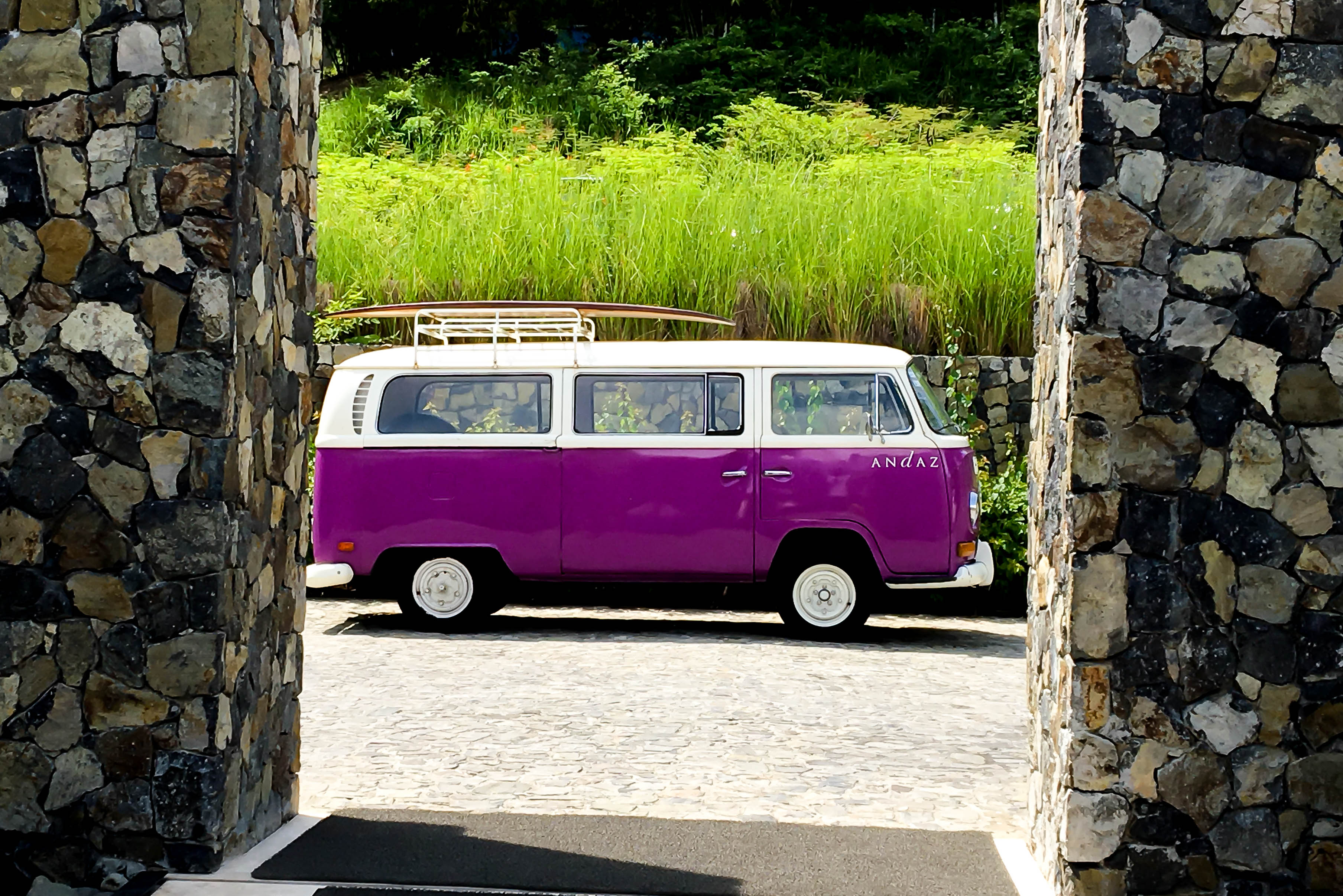 Loved the purple bus from the 70's at the Andaz Papagayo