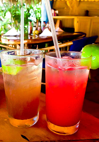 Pretty cocktails served at The Caves, Negril