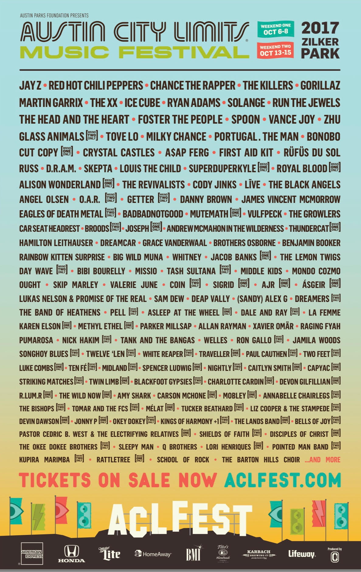 Lineup at Austin City Limits Festival 2017