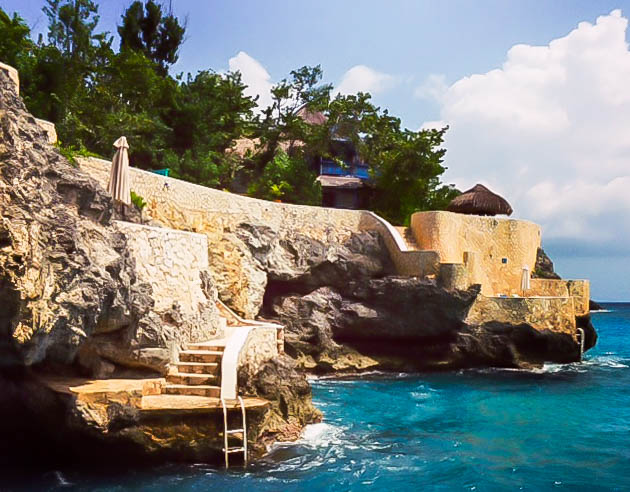 View of the cliffs at the Caves, Negril